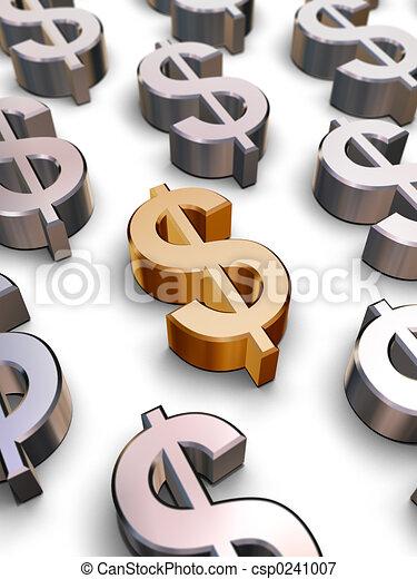 symboles, dollar, 3d - csp0241007