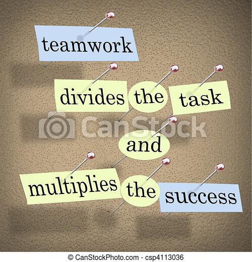 tâche, collaboration, multiplies, reussite, divise - csp4113036