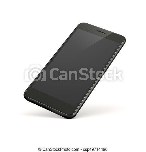 téléphone, blanc, intelligent, fond, 3d - csp49714498