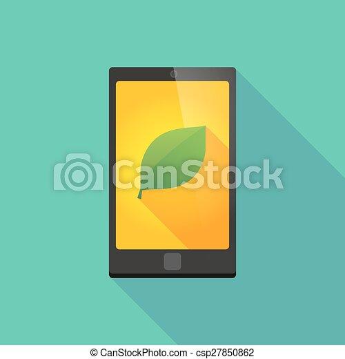 téléphone, ombre, feuille, long, icône - csp27850862