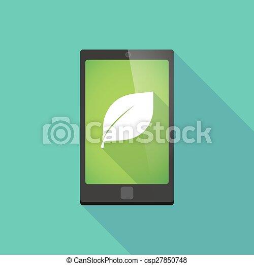 téléphone, ombre, feuille, long, icône - csp27850748