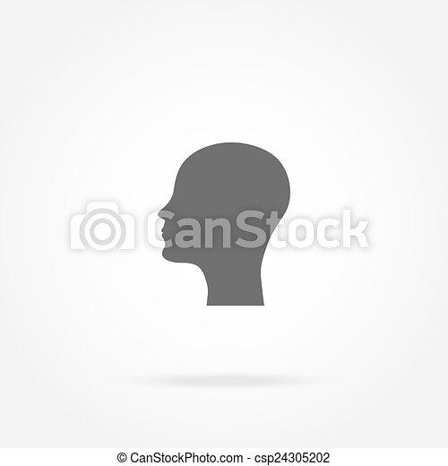 tête, icône, silhouette, homme - csp24305202