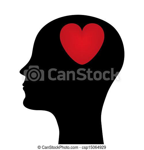 tête, silhouette, homme - csp15064929