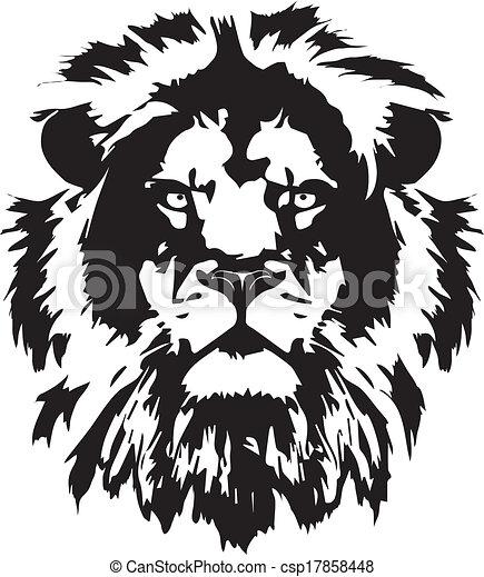 tête, tatouage, lion, noir - csp17858448