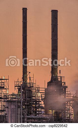 tôt, industriel, cheminées, matin - csp8229542