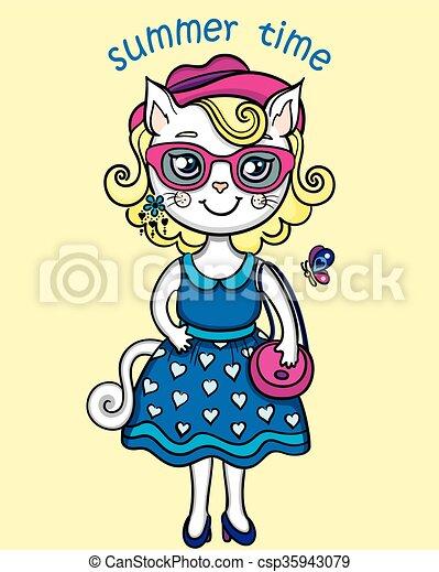 t-shirt, mignon, lady-cat, graphiques, été - csp35943079