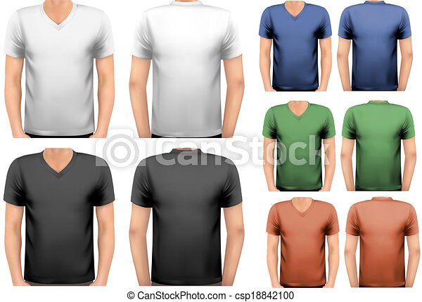 t-shirts., couleur, hommes, conception, vector., noir, blanc, template. - csp18842100