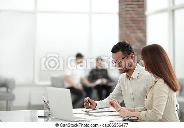 table, employés, bureau, séance - csp66356477