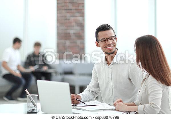 table, employés, bureau, séance - csp66076799