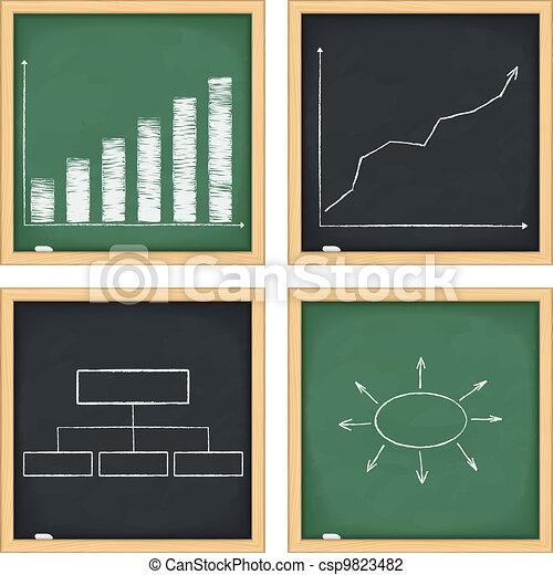 tableaux noirs, diagrammes, graphiques - csp9823482