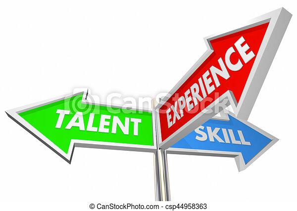 talent, candidat, illustration, 3, expérience, manière, signes, compétence, mieux, 3d - csp44958363