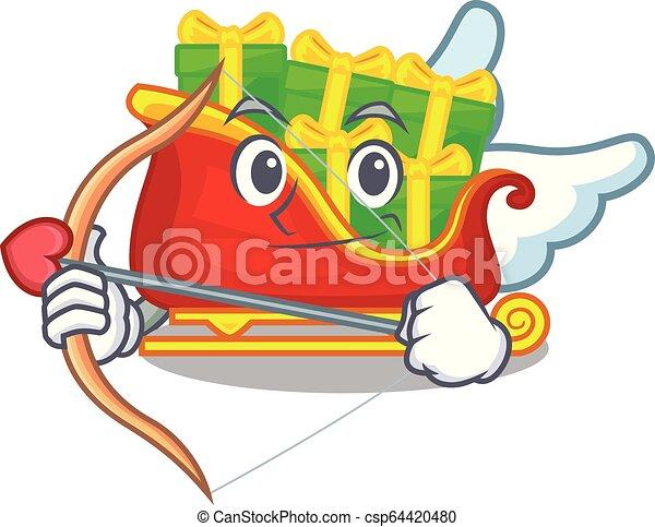 tas, cupidon, présente, santa, traîneau, dessin animé - csp64420480