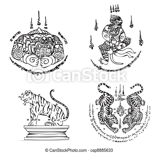tatouage, thaï, vecteur, ancien - csp8885633