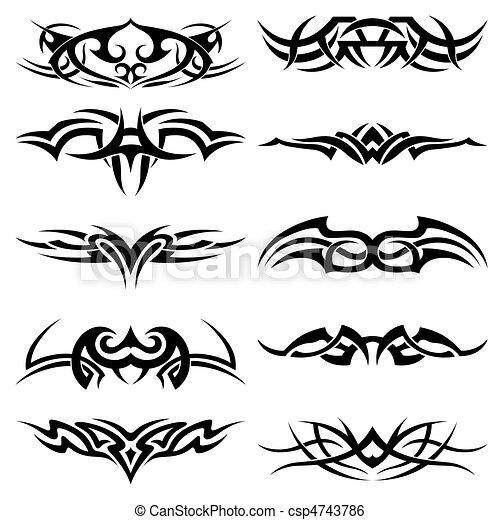tatouage, tribal, meute - csp4743786