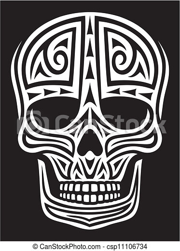 tattoo), ornement, (skull, crâne - csp11106734