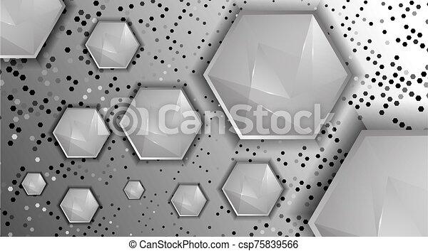 technologie, résumé, fond, élevé, hexagones, vecteur - csp75839566
