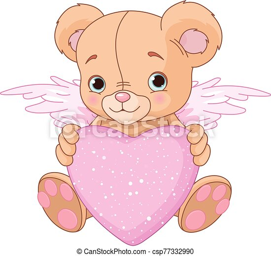 teddy, coeur, ours - csp77332990