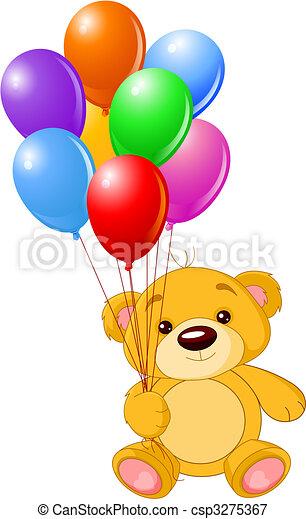 teddy, coloré, tenue, ours, ballons - csp3275367