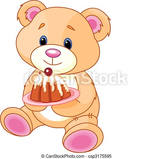 teddy, gâteau, ours - csp3175595