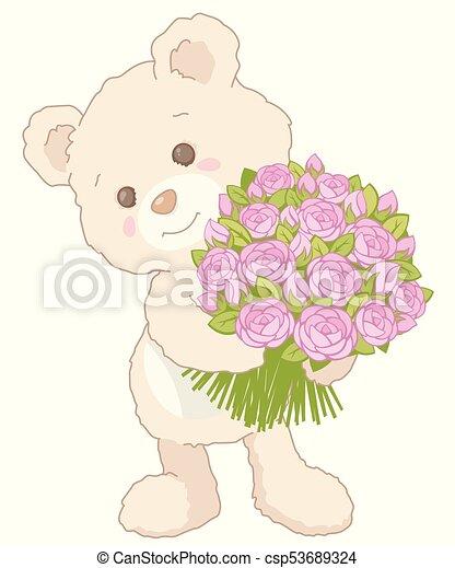 tenue, bouquet, carte, style, peu, rose, valentines, roses, jour, ours peluche, mignon, vendange, illustration - csp53689324