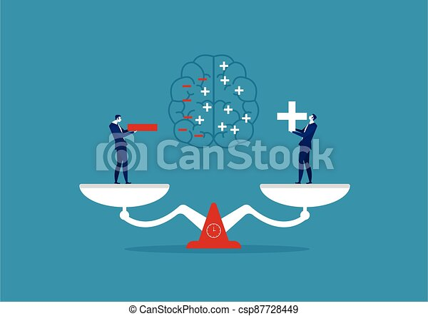 tenue, vecteur, illustration, homme affaires, concept, pensée positive, négatif - csp87728449
