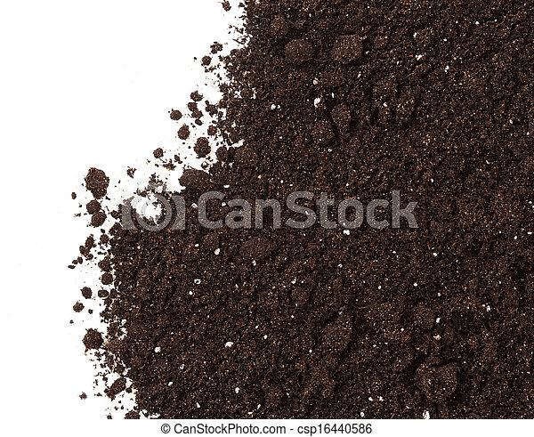 terre, sol, isolé, récolte, fond, blanc, ou - csp16440586