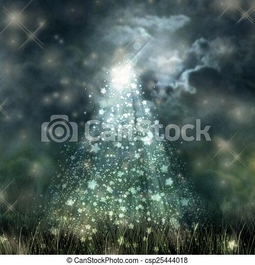 terrestre, ciel, écoulement, sombre, clair lune, mystique - csp25444018