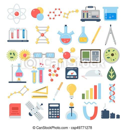testing., ensemble, scientifique, science, chimique, équipement, vecteur, icône - csp49771278