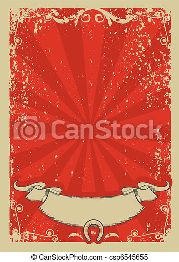 text., fond, vecteur, graphique, cow-boy, affiche, rouges - csp6545655