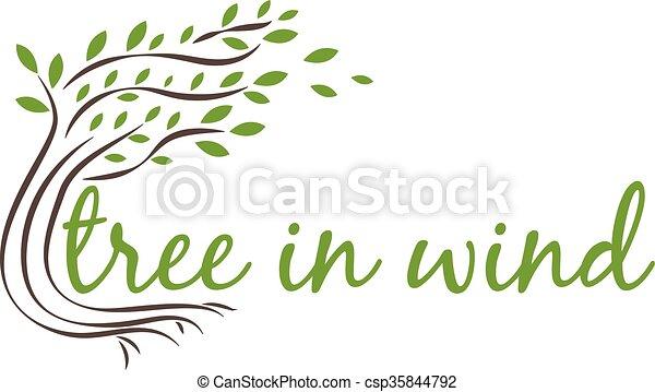 text., vecteur, arbre, vent, illustration - csp35844792