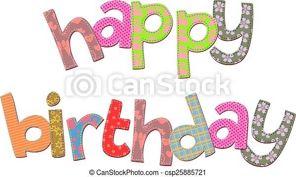 texte, anniversaire, art, agrafe, heureux - csp25885721