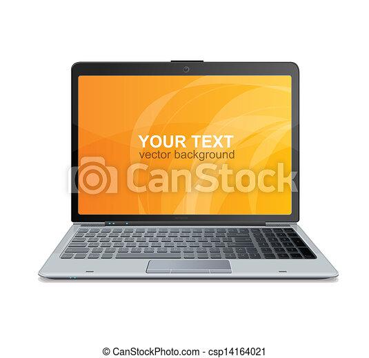 texte, ordinateur portable, vecteur, isolé - csp14164021