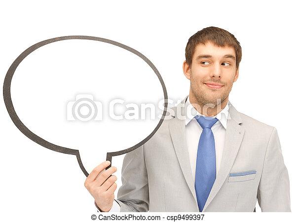 texte, sourire, homme affaires, bulle, vide - csp9499397