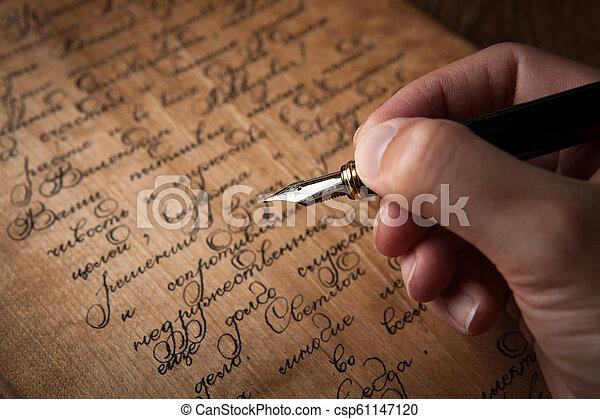 texte, stylo, fontaine, lettre, main - csp61147120