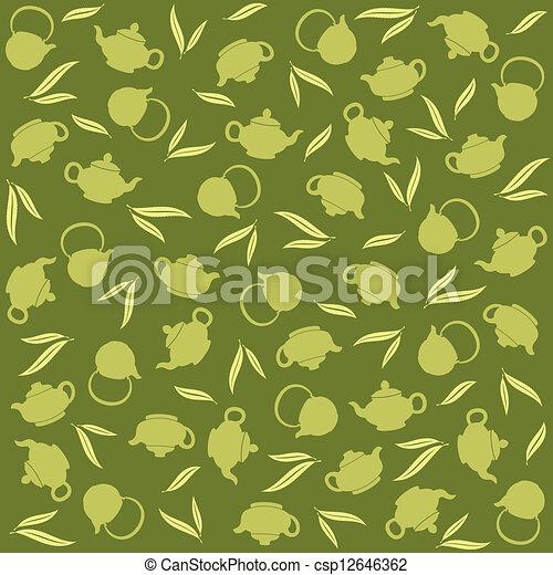 thé, arrière-plan vert - csp12646362