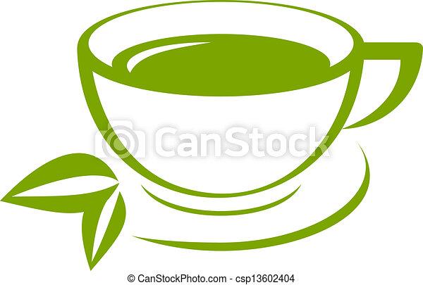 thé, vecteur, vert, icône, tasse - csp13602404