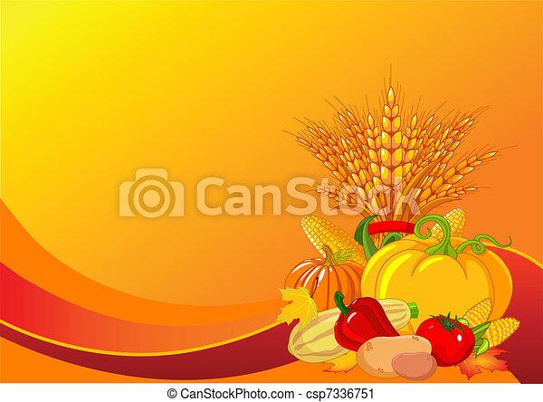 thanksgiving, récolte, fond, / - csp7336751