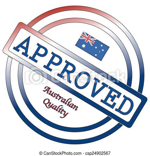 timbre, australien, qualité, approuvé - csp24902567