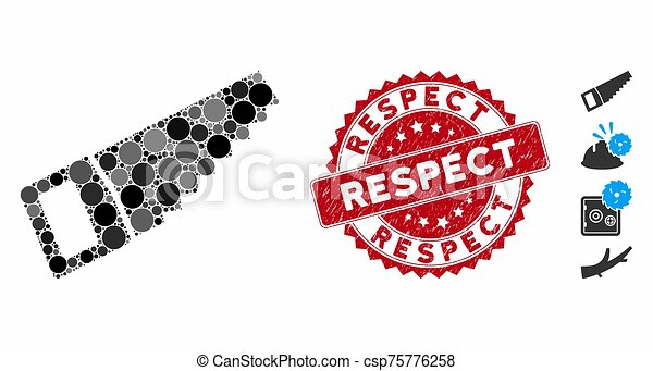 timbre, respect, icône, scie, collage, bois, détresse - csp75776258