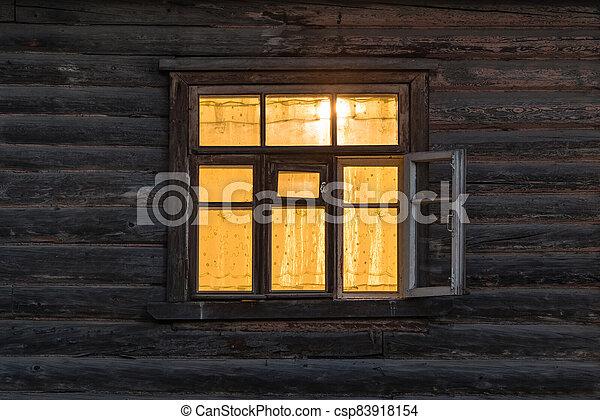 time., ancien, fenêtre, bois, nuit, maison - csp83918154