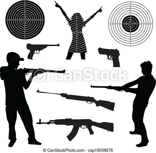 tir, silhouette, armes feu, homme - csp19038676