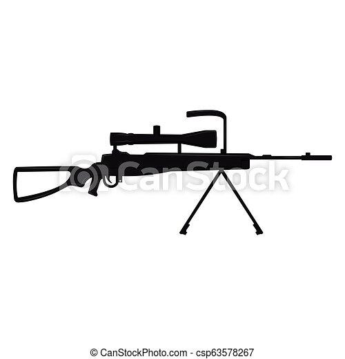 tireur embusqué, silhouette, fusil - csp63578267