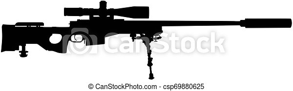 tireur embusqué, vecteur, silhouette, illustration, fusil - csp69880625