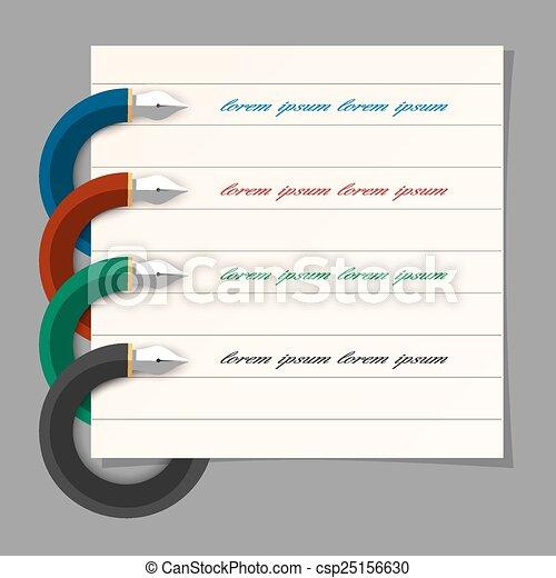 toile, écriture, étape, coloré, présentation, infographics, stylo, conception, stylisé - csp25156630