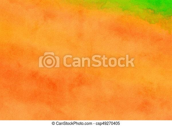 toile, peint, aquarelle, laver, fond, orange - csp49270405