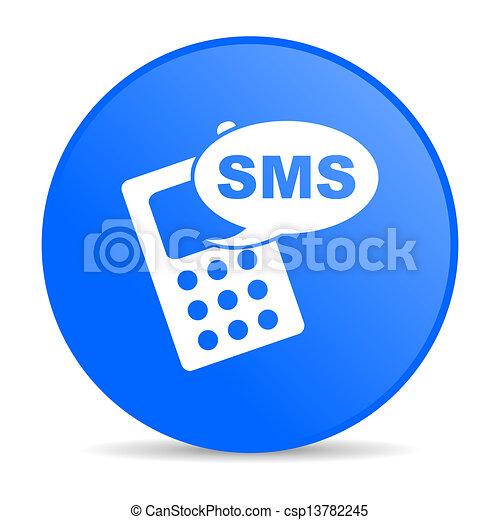 toile, sms, lustré, bleu, icône, cercle - csp13782245