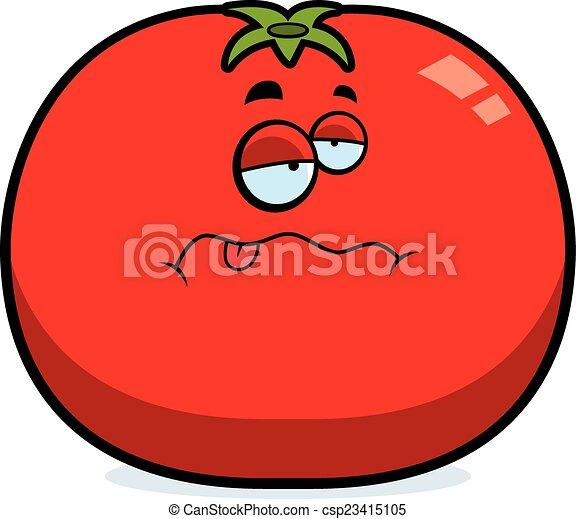 tomate, dessin animé, malade - csp23415105