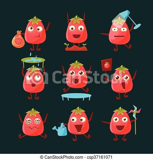 tomate, ensemble, caractère, dessin animé - csp37161071