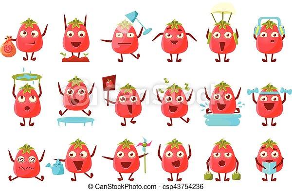 tomate, ensemble, caractère, dessin animé - csp43754236