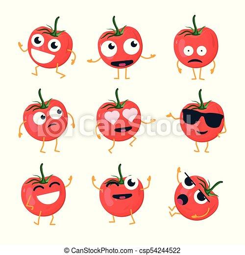 tomate, rigolote, emoticons, -, isolé, vecteur, dessin animé - csp54244522